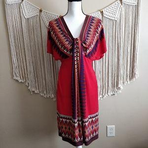 Maggy London Red Boho Tribal Plunge Midi Dress 8